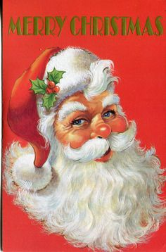 Unused Vintage Christmas Card Santa Claus with Holly in His Hat | eBay