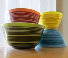 Stripe Bowls   Flickr - via hot for Pyrex