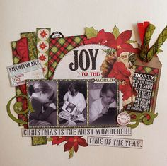 Christmas layout - great layout to use up scraps of any paper!