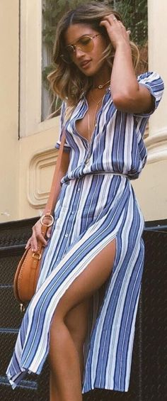 #summer #outfits / striped button up dress
