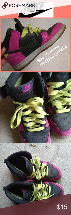 NIKE DUNKS Colorful   10 wmn   $15 Open to OFFERS ALL items come from a PET/SMOKE FREE home Brand: Nike Size: 10 women's (8 men) (run slight big in my opinion) Price: $15  -Unique colorway- the black contrasts with the pink and neon shoe laces well -elaphant skin print  -Clear gummy sole -Comfortable and roomy - In good condition, but creasing on toe area   Open to OFFERS/negotiation Willing to post additional pics upon request  Answer all questions promptly  cwattsghigh Nike Shoes