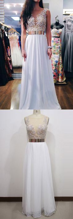 White Prom Dress, Chiffon Prom Dresses, A-line Evening Gowns, Long Party Dresses, Open Back Formal Dresses