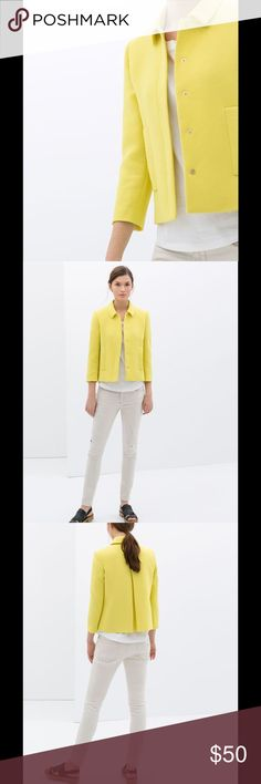 Zara blazer with Peter Pan collar Yellow jacket great for summer time. Snap buttons. Slight boxy fit and short length. Two front pockets. Zara Jackets & Coats Blazers