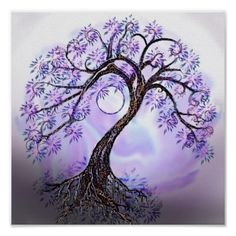 Lavendar Tree Of Life Poster - Custom Posters - Design Your Own. My next tatoo below the crease of my left arm. Tree of life. I want a crescent moon instead, to represent the day my daughter was born. Tree Of Life Artwork, Tree Art, Tree Of Life Painting, Tree Of Life Images, Tattoo Life, Tree Of Life Tattoos, Willow Tree Tattoos, Celtic Tree Tattoos, Tatoo Tree