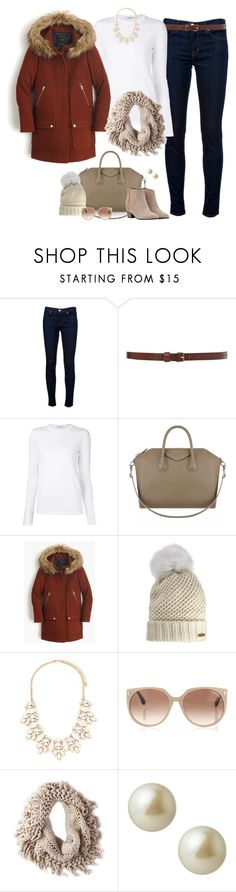 """""""J.Crew Parka + Neutrals"""" by jill-hammel ❤ liked on Polyvore featuring J Brand, T By Alexander Wang, Givenchy, J.Crew, Burberry, Forever 21, Tom Ford, American Eagle Outfitters, Carolee and Golden Goose"""