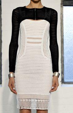 malandrino black, fashion, malandrino dress, crochet dresses, style, blackwhit, knitwear inspiration, catherin malandrino