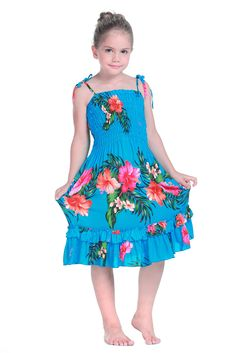 Girl Elastic Ruffle Hawaiian Luau Dress in Turquoise 6 *** You can find out more details at the link of the image. (This is an affiliate link) #KidsFootlockerCollection