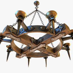 medieval chandelier obj