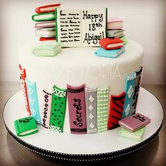 Competition: Designer of the World's Perfect Cake - Page 3 of 16 Twin Birthday Cakes, 30th Birthday Cake Topper, Fondant Cupcake Toppers, Cupcake Cakes, Library Cake, Teacher Cakes, Book Cupcakes, School Cake, Ice Cake