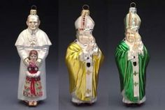 Pope John Paul II Christmas ornaments, endorsed by the Vatican.  What better place for the Vicar of Christ than dangling from your Christmas tree?