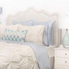 Bedroom inspiration and bedding decor | The Valencia Cream Pintuck Duvet Cover | Crane and Canopy