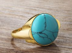 Antique Art Deco Style Natural Turquoise 10k Solid Gold Men's Ring #IstanbulJewellery #Statement