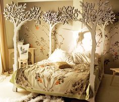 Bedroom,Unique Bed Design Inspiration With Awesome White Tree Canopy Bed And Cute White Floral Ornament Bed Cover Plus Soft White Pillows Also Stylish Corner Study Space Using Pretty Floral Wall Decal,Amazing Beds With Interior Bedroom Decoration Forest Bedroom, Fairytale Bedroom, Fantasy Bedroom, Fairy Bedroom, Woodland Bedroom, Whimsical Bedroom, Nature Bedroom, Magical Bedroom, Modern Bedroom