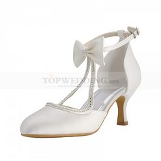 Elegant Satin Mid Heels Bridal Shoes with Bow and Rhinestone