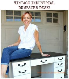 Vintage Industrial Dumpster Desk painted with a custom mix of CeCe Caldwell's 100% Natural Chalk + Clay Based Paints REDOUXINTERIORS FACEBOOK: REDOUX