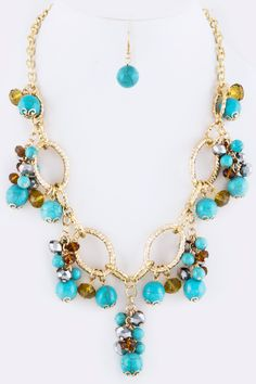 One Faith Boutique - Gold Chain Necklace with Turquoise Beads, $20.00 (http://www.onefaithboutique.com/jewelry-accessories/gold-chain-necklace-with-turquoise-beads/)