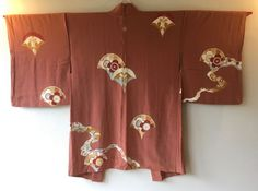 Vintage Japanese Kimono Haori Jacket Silk orange ryusui