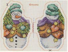 новогодняя вышивка, схемы снеговичков