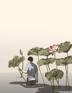 """""""거기서 뭐하세요?"""" """"그늘을 찾고있어요."""" - 연꽃정원은 언제나 싱그럽고 아름다울 것만 같지만, 막상 방문하면 너무 더워요. 양산처럼 시원한 연잎 아래에서 발을 담글 수 있으면 좋겠어요."""