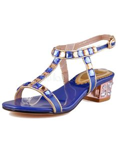 Blue Genuine Patent Leather Upper Buttons T-strap Sandals For Ladies - Milanoo.com:NOTE:  This gorgeous sandal is on clearance for $8.00 but in size 5 ONLY!