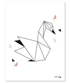 Origami Play Zwaan - Poster bij www.grasonderjevoeten.nl Tape Art, Geometric Drawing, Geometric Shapes, Geometric Animal, Chat Origami, Origami Owl, Design Origami, Polygon Art, Geometric Designs