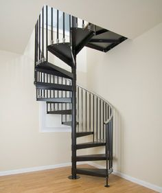 The Iron Shop Elk Grove X White Spiral Staircase Kit - house and flat decorations Spiral Staircase Kits, Staircase Design, Spiral Staircases, Staircase Ideas, Small Space Staircase, Aluminum Handrail, Escalier Design, Casa Loft, Balcony Railing