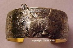 SCOTTIE Dog CUFF BRACELET .Vintage Style Jewelry for Dog Lovers. Signed Cloud K9 Jewelry (Scottish Terrier)