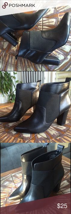 Black Ankle Boots -- Perfect For Fall! Wide ankle -- perfect for wearing with leggings or skinny jeans! Size 9. Too big for me so never worn :) Shoes Ankle Boots & Booties