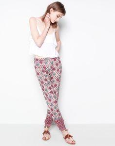 Pull&Bear - woman - trousers and shorts - printed bedouin trousers - raspberry - 09681310-I2014