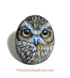 Magnet Boobook Owl Hand Painted Small Pebble by RockArtAttack