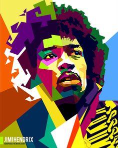 Jimi Hendrix in Collab with WZ in WPAP by edhoartwork on DeviantArt Rock Band Logos, Arte Dc Comics, Buch Design, Pop Art Portraits, Hip Hop Art, Rock Posters, Jimi Hendrix, Face Art, Vector Art