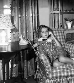Shirley Temple in her private bungalow on the Fox lot