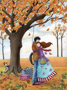 """Sunday With Hugs"" by Monica Carretero Art And Illustration, Autumn Art, Autumn Leaves, Photo Deco, Naive Art, Couple Art, Whimsical Art, Fall Halloween, Illustrators"