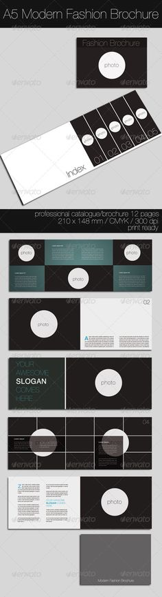 Modern Fashion Brochure #GraphicRiver This is a complete layout for a printable brochure. Text and images/colors are easy to change, just drop in your own text, change the images/colors and you are ready to go. You can use this brochure for any typ of bussines or for personal usage. The layers are well organized and the files are created in order to be used by everyone,.. 2 Photoshop files A5 ISO 210 ×148 mm (8,27×5,83 inches) + bleeds 300 DPI / Print Ready / CYMK Instructions file included…