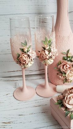 Wedding glasses - buy in online store- Свадебные бокалы – купить в интернет-магаз… Wedding glasses – buy in online store at the Fair of Masters with delivery – - Wedding Wine Glasses, Wedding Champagne Flutes, Quinceanera Decorations, Wedding Decorations, Handmade Wedding, Wedding Gifts, Wine Bottle Crafts, Wedding Hair Accessories, Craft Fairs