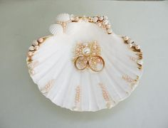 Sea Shell Ring Bearer Wedding Ring Holder Bowl Dish Ring Pillow