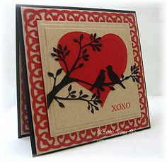 By Irina Blount. She used a Cameo Silhouette to cut the heart, bird on the branches, & background pattern. I could die-cut the heart, branches, & two birds and perhaps make a background with edger punches?