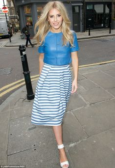 What a star: Mollie King stepped out on Monday in a summery skirt and top, to celebrate the launch of Oasis' SS14 collection