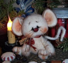 "Primitive Christmas Fuzzy Mouse Bear 4"" Ornament Mini Doll ★ Vtg Patti's Ratties   For ordering information contact me at pattisratties3d@yahoo.com"