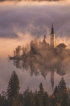Church on Island and Castle at Bled, Slovenia