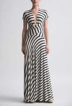 Little French Stripe Wrap Gown by Nadia Tarr