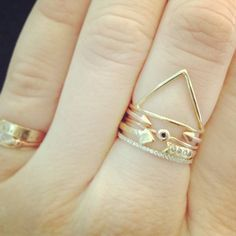 Ring stacks with Klaia Triangle Ring and Arrow Band with Diamonds .. via Catbird