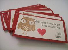 Set of 20 Custom Valentine Owl Classroom by TandLittleSDesigns