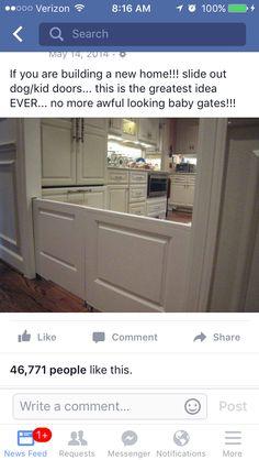 Pocket door baby/ dog gate!! No more plastic gates all around the house Dog Gates, Puppy Gates, Child Gates, Baby Gates, Dog Baby, Ugly Baby, Doggy Doors, Pet Door, Dutch Doors