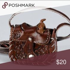 "Leather mini saddle coin purse It measures 3x 3 1/4"" flap closure brown leather with flower tooling strap measures 19"" great for small bag needs or just cute little bag as gift Bags Mini Bags"