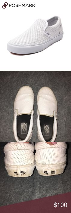 White slip on Vans leather Very worn and dirty. Willing to sell at a reasonably low price because of condition, leave me offers:) Want to get rid of asap! Vans Shoes Sneakers