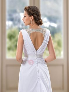 Tidebuy.com Offers High Quality Simple Style Beaded V-Neck White Beach Wedding Dress, We have more styles for Beach Wedding Dresses