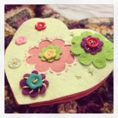 Heart to Heart. A cute work in progress with felt and buttons as I learn to love my xCut machine.