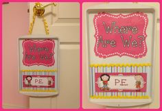 "A magnetic version of the ""Where Are We"" board. I heart the ribbon :) Jodi from The Clutter-Free Classroom www.CFClassroom.com"