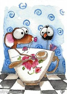 ACEO Original Watercolor Folk Art Whimsical Painting Mouse Crow Gold Cup Tea   eBay